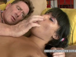 Teen hottie Momoko takes a white dick in her ebony twat