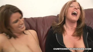 Big titty cougars Lisa Sparxxx and Zoey Andrews have thier fun with 2 BBC