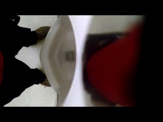 Urinal Spy - Young White Guy with big nice uncut dick # 2