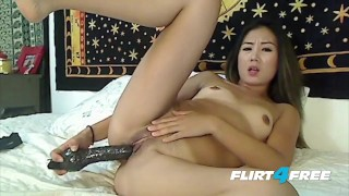 Smokin' Hot Asian Jade Rhee Rides Her Big Dildo