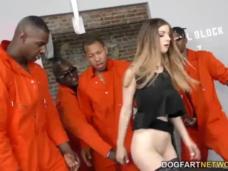 Sexy Girl Strips Naked Stella Cox gets DPd by big black cocks