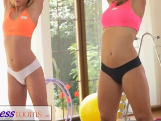 FitnessRooms Two lesbian gym buddies having a sweaty workout