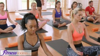 FitnessRooms Groups yoga session ends with a sweaty creampie  bisexual fitnessrooms 3some babes creampies yoga porn yoga threesome sex in yoga oal sex teen yoga pants yoga