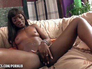 Ana Foxxx masturbates by rubbing her pretty little clit