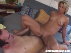 Sexy Blonde Mama Cum Sprinkled Breasts Fucked