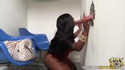Jayden Starr gets creampied by white Gloryhole cocks