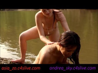 Strip wrestling at public river- andrea sky