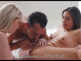 Passion-HD – Dude fucks friends Lucy Doll and Peyton Coast in threesome