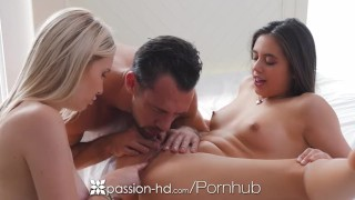 Passion-HD - Dude fucks friends Lucy Doll and Peyton Coast in threesome