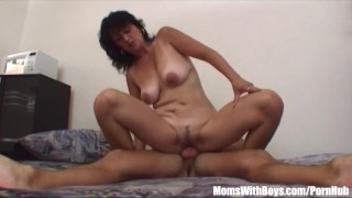 Horny son ridden gets by stepmom brunette young cumshot