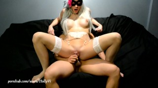 Hot young blonde slut Holly Vi gets a cumpilation in the mouth and on her