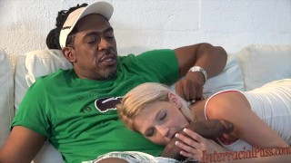 Cute small blonde takes biggest black cock!