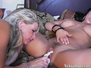 Hot Busty MILF Vicky Vette Plays With Big Titted Brunette!