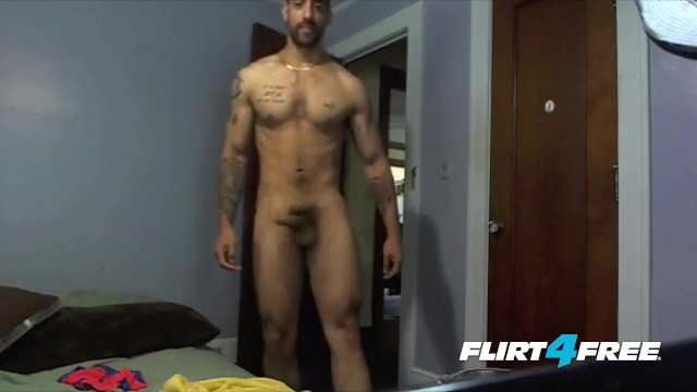 Gay tat Tatted and toned samir hott puts his big cock to work