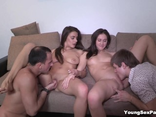 Young Sex Parties - Three-way becomes a foursome