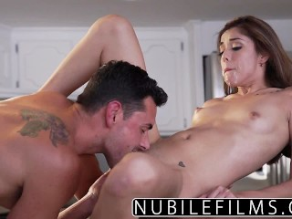 NubileFilms Brunette babes hard fuck and facial