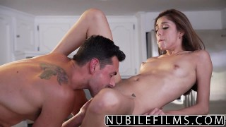 NubileFilms Brunette babes hard fuck and facial