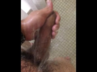Rubbing my dick in the shower