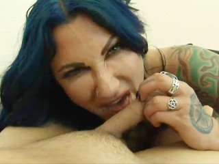 Tight sexy demim short shorts fendom ballbusting with big titted jenevieve hexxx in black leather b