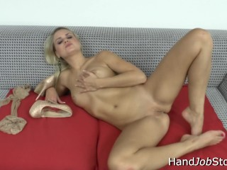 Barra Brass solo masturbation during her foot fetish shoot.