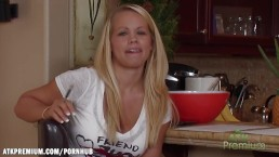 Britney Young shows her nice breasts at an interview