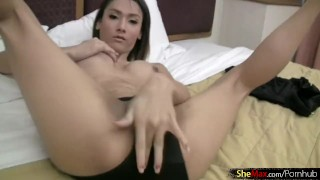 Preview 4 of Long haired Asian tranny shows shecock while having a smoke