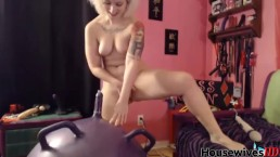 graceful passion Quin with small breasts jumps on a dildoball