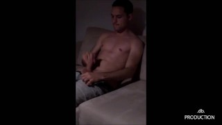 Horny guy in jeans with big cock comes watching Playboy channel ! (.db.)