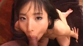 Adorable brunette Asian slut getting fucked in missionary position