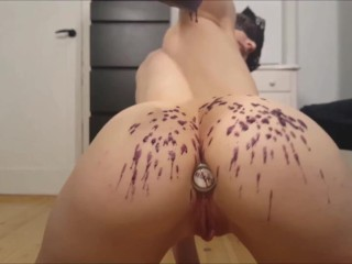 Close up of Alice Strange Playing with Butt Plug