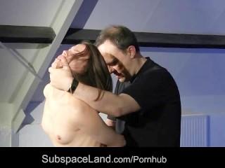 Petite slave blindfolded punishment swallows cumshot for bondage mercy