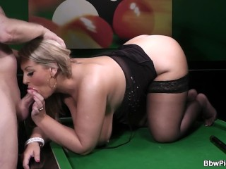 Sexy chubby blonde in black stockings