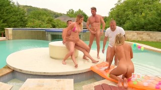 DDF Network - Bikini babes artfully ass fucked and Dp'ed in Swimming Pool