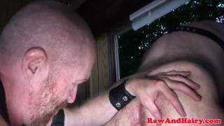 Polar bear anal fingered and rimmed in cabin Raw cock