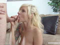 Blonde Biker Chick Gives Dude A Blowjob & Teases His Cock With Her Pussy