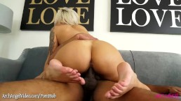 Nina Elle sucks big black cock and goes for a ride