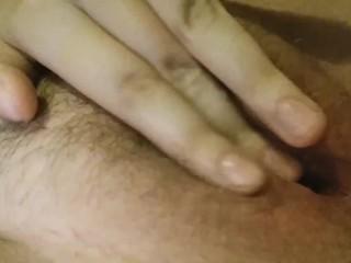 Unshaven pussy rubbing