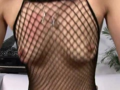 Lori Alexia on her fishnet outfit devours a big dick inside her pussy