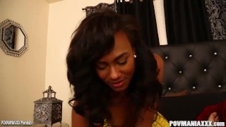 Black chick Akyra sucks and strokes cock POV Dark hairy