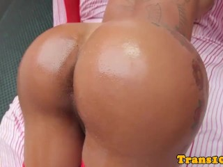 Inked tgirl analplays with herself with dildo