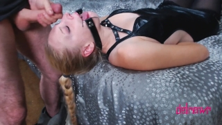 Bound Spankings & Facial For Cute BDSM Slut Horny povbitch