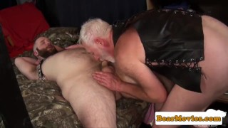 Polarbear doggystyling leather cub Interracial skinny