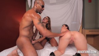 HOT Interracial Threesome with Ava Devin, Sara Jay Ass to Mouth  big-tits kissing shaved-pussy doggy-style cumshot clit-rubbing milf interracial avadevine brunette reverse-cowgirl 3some raw girls threesome