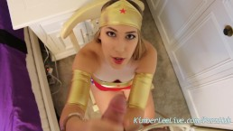 Kimber Lee Wonder Woman Handcuffed Handjob!