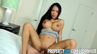 PropertySex - Panty sniffing landlord drills Latina tenant with big cock Fishnet ass