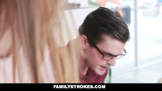 Fucked homework familystrokes nerdy stepbro me for familystrokes cumshot
