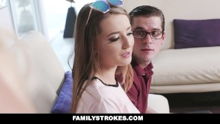 FamilyStrokes - Nerdy Step-Bro Fucked Me For Homework Cock gagging