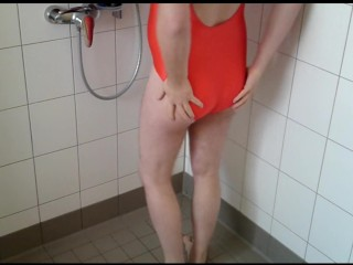 Pissing in swimsuit