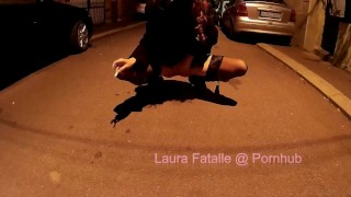 Naughty public pissing and smoking cigar Laura Fatalle