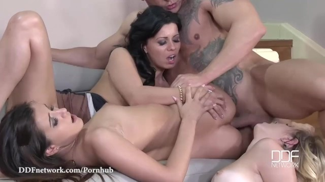DDF Network-Pussy Abundance — One Cock Stuffs 3 Shaved Pussies And Asses